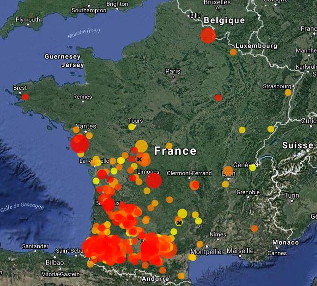 Répartition de l'Elanion blanc en France entre le 1er juillet 2017 et le 25 janvier 2018. En rouge, les localités visitées les plus récentes. Carte issue de Faune-France.