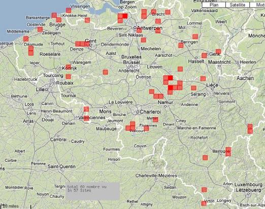 Sites où le Busard pâle a été vu en Belgique